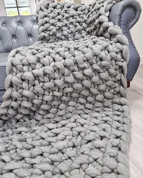 Natural Grey Valencia Sofa Blanket or Bed Blanket