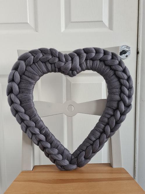40cm Granite Heart Wreath