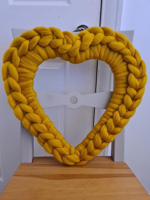 40cm Mustard Heart Wreath