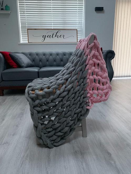 Natural Grey & Candy Floss Blanket