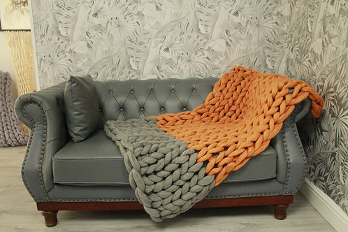 Marigold and Natural Grey Throw