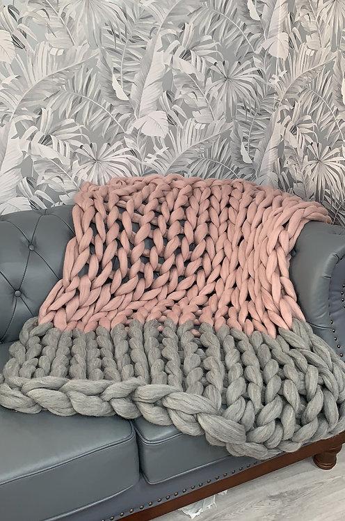 Mink & Natural Grey Blanket