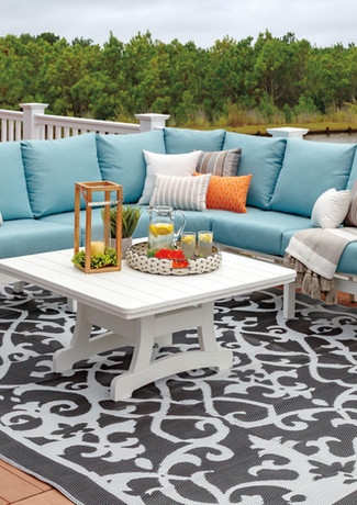 """White Bayshore Sofa & Loveseat Sectional With 48"""" Square Conversation Table & End Table, Cast Horizon Cushions"""
