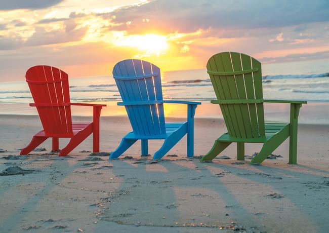 Dark Red, Ocean Blue, & Lime Green Oceanside Adirondack