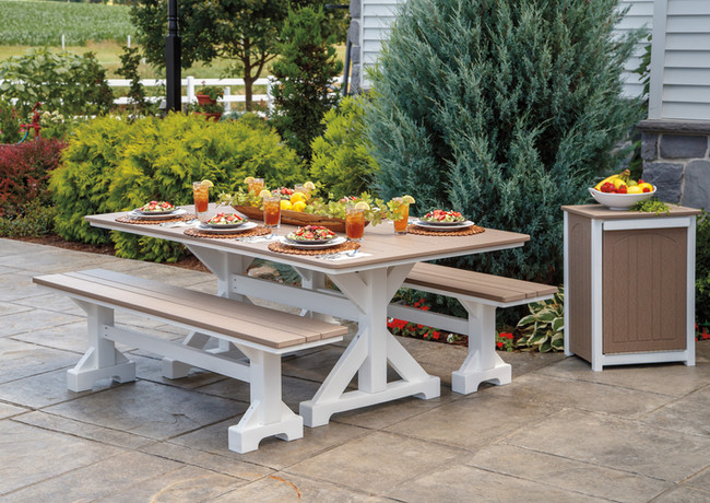 Weatherwood On White Picnic Table With Two Benches
