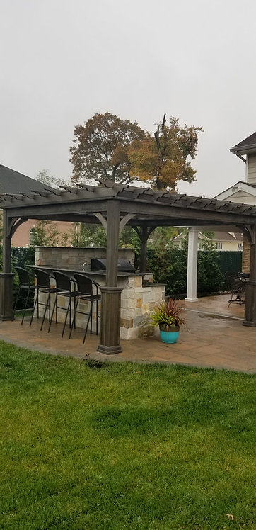 Cinder Stained Wood Pergola