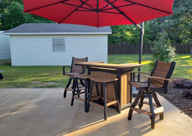 Antique Mahogany On Black 5' Bar, 2 Saddle Barstools, & 2 Bayshore Swivel Pub Chairs