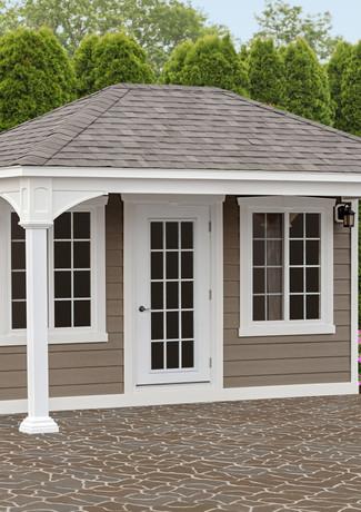 12'x16 White Vinyl Pavilion - Asphalt Sh