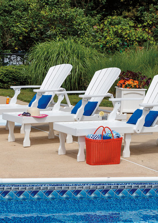 White Oceanside Chaise Lounges