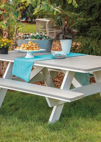 "Dove Gray On White 40"" x 72"" Picnic Table"