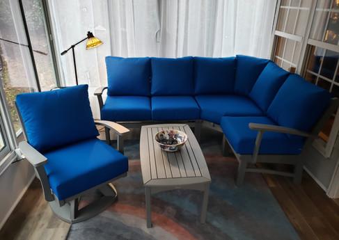 Gray Love Seat & Club Chair Bayshore Sectional, Bayshore Swivel Rocker & Bayshore Conversation Table, Canvas Pacific Blue Cushions