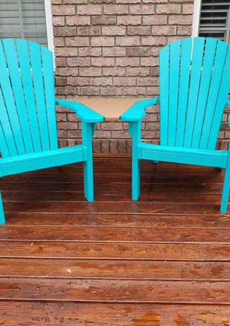 Turquoise Oceanside Adirondack Settee With Nutmeg Table