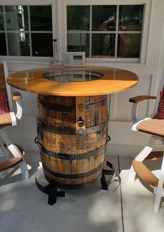 Antique Mahogany On White Bayshore Swivel Pub Chairs & Customer Supplied Barrel Table