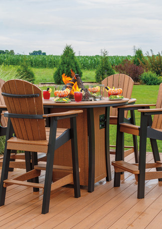 Antique Mahogany On Black Firetable & Oceanside Chairs