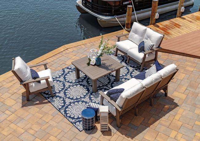 "Coastal Gray Marina Sofa, Loveseat, Club Chair, & 42"" Square Conversation Table With Linen Natural Cushions"