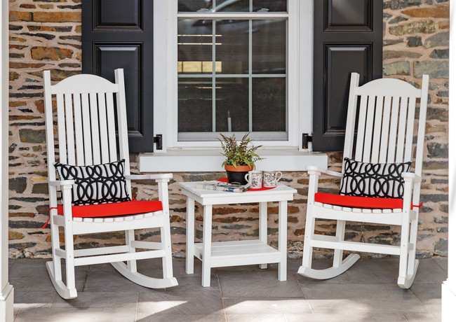 White Plantation Rockers With Canvas Logo Red Cushions