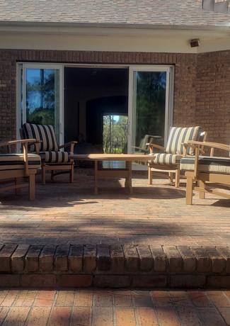 "Nutmeg Bayshore Club Chairs & 48"" Round Conversation Table, Berenson Tuxedo Cushions"