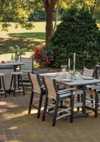 """Birch On Black 40' x 60"""" Pub Table, Bayshore Pub Chairs, 5' Bar & Barstools"""