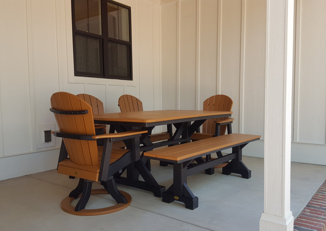 """Cedar On Black 40"""" x 72"""" Picnic Table With 6' Bench & 2 Oceanside Swivel Dining Chairs, & 2 Oceanside Dining Chairs"""