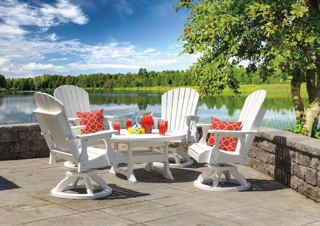"White 42"" Oceanside Conversation Table With 4 Bridgeport Swivel Rockers"