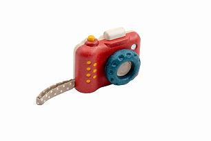 la bêtiserie - jouet d'imitation en bois appareil photo avec déclencheur mobile et objectif kaléidoscope