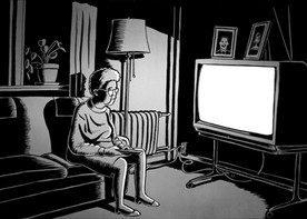 Old lady watching television