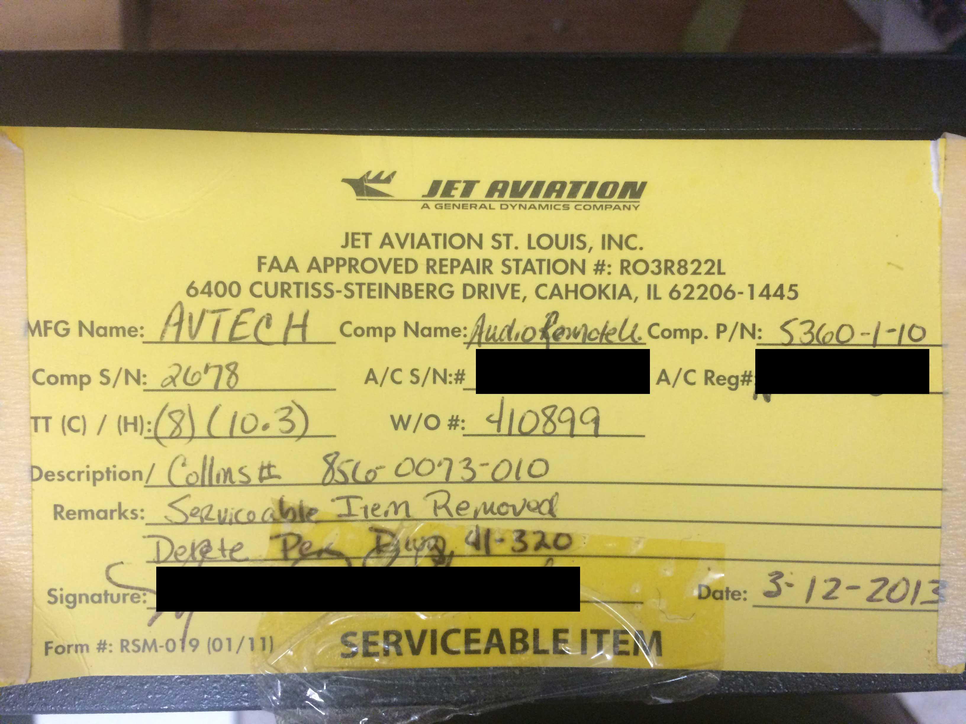 Avtech Audio Remote Unit P/N 5360-1-10
