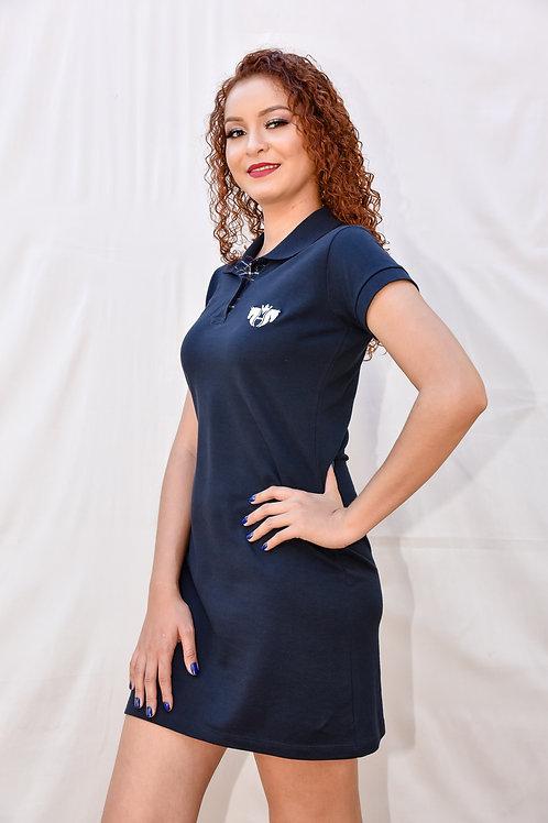 Vestido Gola Polo Azul Marinho