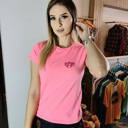T-shirt bordada rosa
