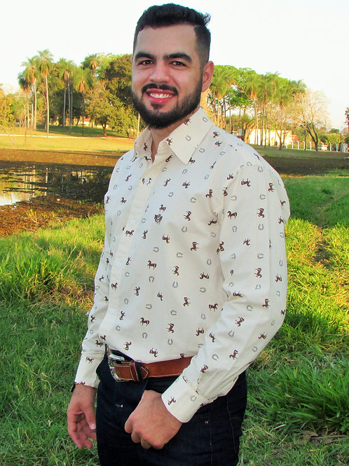 Camisa Masculina Estampada Cavalinho