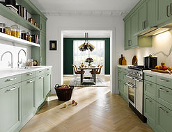 Schuller C Finca in sage green featuring a stainless steel range, tradition style