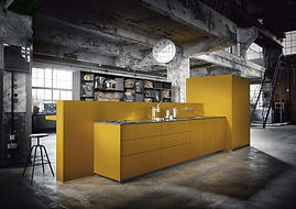 Next 125 NX500 Safron yellow featuring island,wall mounted tap, breakfast bar, pocket doors