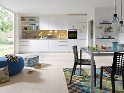 Schuller C Gala range in crystal white featuring cube recess system, high level oven