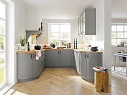 Schuller C Casa range in agate grey featuring solid oak worktops