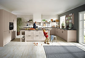 Schuller C Canto range in sang grey featuring open plate rack, canopy extractor