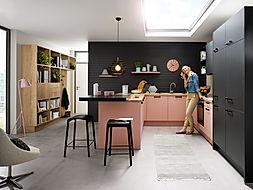 Schuller C Biella range in lava black and pastel rose and Cremona Old oak provence open shelving, mini office