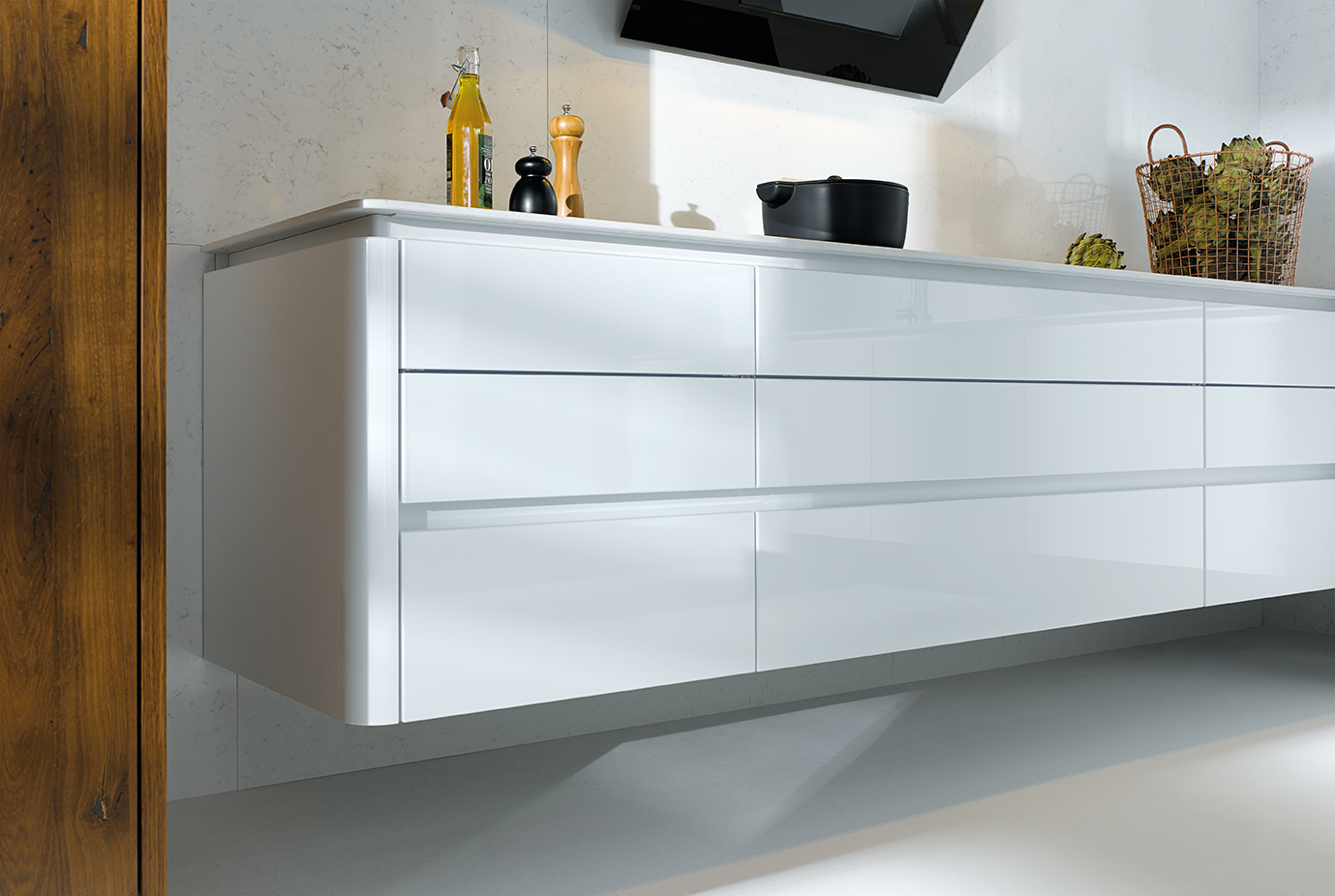 Next125 NX501 Crystal White High Glosss Featured Wall Hung Base Units