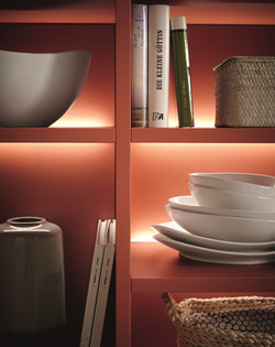 Featured open shelf lighting