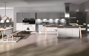 Next 125 NX902 in Stone grey matt glass featuring cook tabl,e recess panel system, cube accesories
