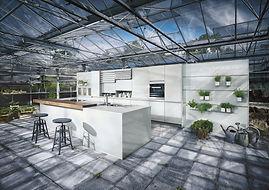 Next 125 NX902 in Crystal grey matt glass featuring recess panel system, cube, island, breakfast bar
