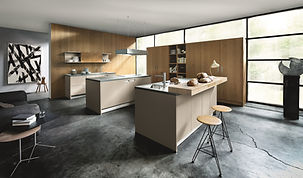 Next 125 NX510 in Sand grey velvet matt lacquer and NX620 Natural knotty oak brushed featuring twin island, breakfast bar, pocket doors. island extractor, island sink