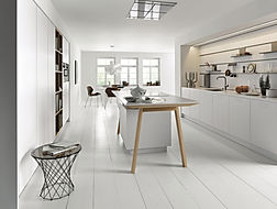 Next 125 NX800 Solid polar white featuring cook table, recess panel system, cube accesories