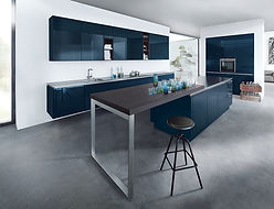 Next 125 NX501 in Indigo blue high gloss featuring breakfast bar, stainless steel breakfast bar leg