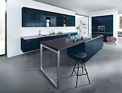 Next 125 NX501 in Indigo blue high gloss featuring breakfast bar, stainless steel breakfast bar leg
