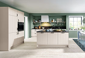 Schuller C Domus range in sand grey featuring rustic shelving, black bow handle