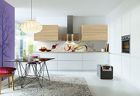 Schuller C Nova range in crystal and Lima Norway maple featuring gripledge, wall hung extractor,
