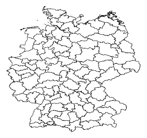 Schnelle Ansicht der shapefile mit den Landkreis-Polygonen