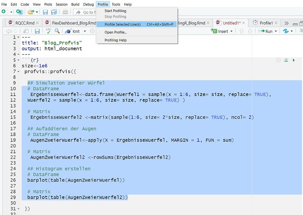Es können beliebige Ausschnitte des Quellcodes mit profvis untersucht werden. Dazu kann das Tool auch im Menü des RStudios ausgewählt werden.