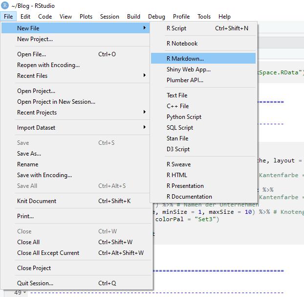 Das Flexdashboard kann im angezeigten Menü des RStudios angelegt werden