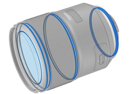 防水滴鏡身設計 鏡身採用防塵防水滴鏡筒設計,使鏡頭在戶外環境下使用能保持耐用,鏡頭尾部接環更提供防水膠邊,使水份不會經接環輕易滲入鏡頭